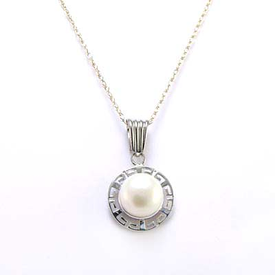 Anzor jewelry 14k white gold pearl greek design pendant 14k white gold pendant pendant mozeypictures Images